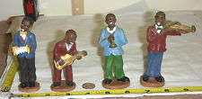 """Vtg Hand-Painted AFRICAN AMERICAN JAZZ BAND with 4 Musician Figurines 4"""" High"""