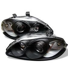 Fit 96-98 Civic Black Dual Halo LED Projector Headlight w/ Amber Lamp EJ EM EK