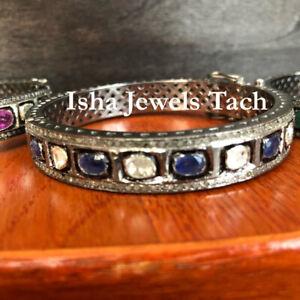 Handmade Natural Diamond & Diamond Polki 925 Sterling Silver Bangle Bracelet
