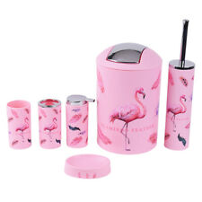 6pcs Pink Bathroom Countertop Set Storage Jar, Tumbler, Soap Dish & Dispenser