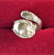Estate Vintage STERLING Silver ALVIN French Scroll Bypass Spoon Ring Size 8