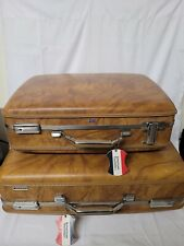 2 Pc Vintage American Tourister  Brown Luggage Hard Shell  Suitcases Great Shape