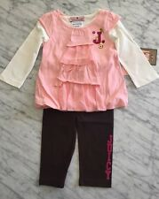 NWT Juicy Couture Infant/Baby Girl 3pc Pink Top with w/leggings Set 6-12m $88