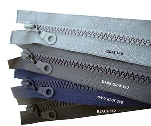 TWO WAY Chunky Zip #5 Slider Plastic Teeth Zipper Open End Black 60cm - 85cm UK