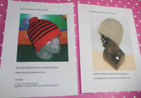 BARGAIN 2 X PRINTED KNITTING INSTRUCTIONS- 2 X BEANIE HAT KNITTING PATTERNS