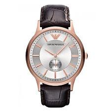 Emporio Armani Uhr AR9101 Classic Herrenuhr Rotgold Leder Braun Armband Analog