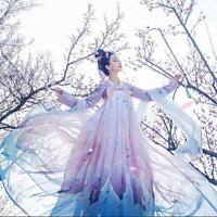 Chinese Retro Womens Hanfu Cosplay Long Sleeve Maxi Dress Stage Costume Fashion