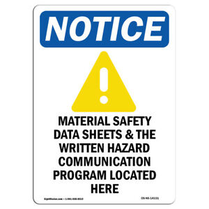 OSHA Notice - Material Safety Data Sign With Symbol | Heavy Duty Sign or Label