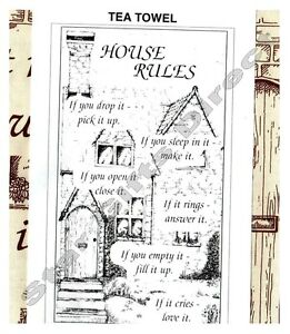 TEA TOWEL HOUSE RULES NEW Kitchen Cotton Gift Present *SENT BY RM 1ST CLASS POST