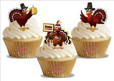 12 Novelty Happy Thanksgiving Turkey Trio  Mix Edible Cake Toppers Christmas