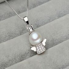 Crystal Baby Zircon Lake Freshwater Nature Chain Necklace Angel Pendant Pearl