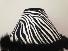 Zebra Print Fabric Lamp Shade With Feather Boa Trim