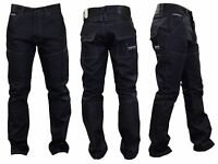 Mens Crosshatch Denim JEANS Black Coated Straight Leg New Fashion Sale Sz. 30-44