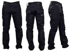 Mens Crosshatch Denim JEANS Black Coated Straight Leg New Fashion Sale Sz. 30-44