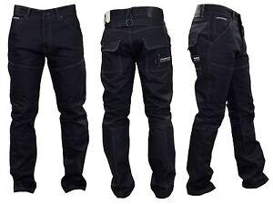 Mens Crosshatch Denim JEANS Black Coated Straight Leg New Fashion Sale Sz. 28-44