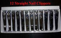 12pcs Straight Edge Nail Clipper Finger Toe Cutter Trimmer Stainless Steel Korea