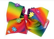 JoJo Siwa Large Rainbow Flower Hair Bow Dance Hair Bows Cheerleader Bow Pageant