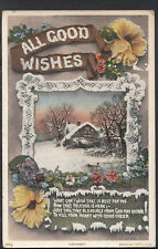 Greetings Postcard - All Good Wishes - Christmas Cottage Scene RT644