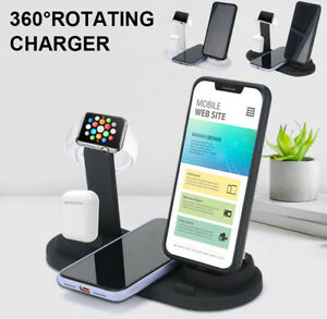 4in1 Wireless Charging Station Dock Charger Stand For AirPods Apple Watch iPhone
