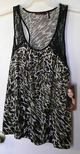 NEW! Sofia. Animal print with black lace sleeveless pullover top size M