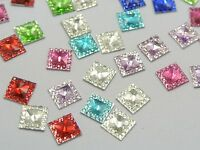 500 Mixed Color Acrylic Flatback Square Rhinestone Gems 8X8mm Embellishments