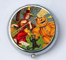 Witch Black Cat Pumpkin PILL CASE pillbox pill holder halloween