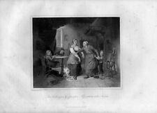 Stampa antica LA NONNA DIFENDE IL NIPOTE dalla mamma 1852 Old Print Engraving