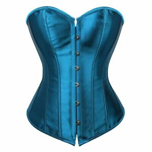 Corset Bustier Satin Sexy Plus Size Gothic Lace Up Boned Gorset Top Shapewear