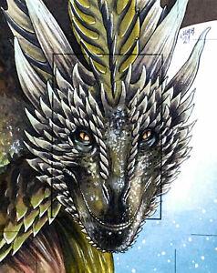 Rhaegal Dragon SketchaFEX Game Of Thrones Rittenhouse Sketch Card Drawing Art