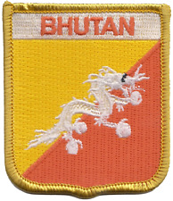Bhutan Flag Shield Embroidered Patch Badge