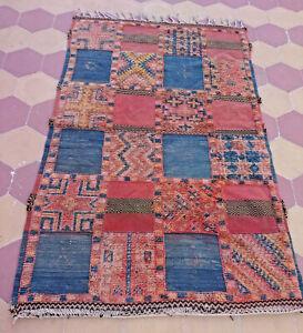 Moroccan Vintage Rug Wool Handmade Berber Boujaad Carpet Tribal Boujad Geometric
