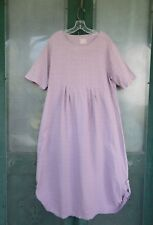 Blue Fish Short-Sleeve Empire Waist Dress -1- Lavender Basketweave Linen
