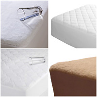 EXTRA DEEP QUILTED/TERRY/UNDERFLEECE MATTRESS PROTECTOR FITTED BED COVER
