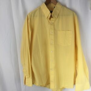 IZOD Mens Long Sleeve Button Down Cotton Dress Casual Shirt Yellow Check Large