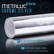 Silver Chrome Mirror Vinyl Wrap Film Roll Sheet Air Bubble Free 12
