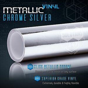 """Silver Chrome Mirror Vinyl Wrap Film Roll Sheet Air Bubble Free 12"""" x 60"""" In"""