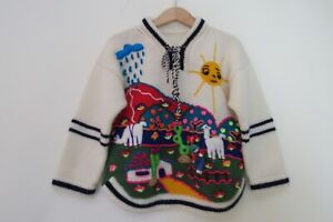 Vintage Peru Hand Knit Cardigan Sweater Kids Peruvian Southwest 4 5