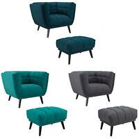 Mid-Century Lounge Arm Chair & Ottoman Tufted Fabric Ottoman Gray, Teal, Blue