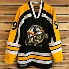 Rare Black Guinness Ireland Toucan STITCHED Hockey Jersey Beer Promo L/XL