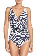 NEW Tommy Bahama Womens Zebra Low Back Tummy Control One-Piece SwimSuit AU10
