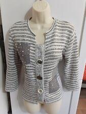 ❤ Per Una Grey & White Striped Cardigan with Front Embellishment size M ❤