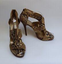 Stuart Weitzman Shoes Sandals Heels Snake Skin Studs Zip Caged Beige Size 10.5M