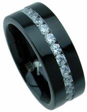 3CT Diamond Solid Black TITANIUM 8mm Wide Men's Wedding Band Ring Lab Created 9