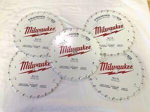 "Milwaukee (5 Pack ) 48-41-0720 7-1/4"" 24T Framing Circular Saw Blades NEW"