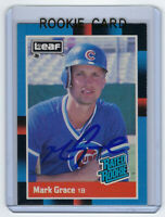 1988 CUBS Mark Grace signed RATED ROOKIE card LEAF #40 AUTO RC Autographed