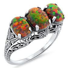 ORANGE LAB FIRE OPAL ANTIQUE DECO STYLE .925 STERLING SILVER RING SIZE 5,   #413
