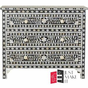 Bone Inlay Chest sideboard Black and White Floral (MADE TO ORDER)
