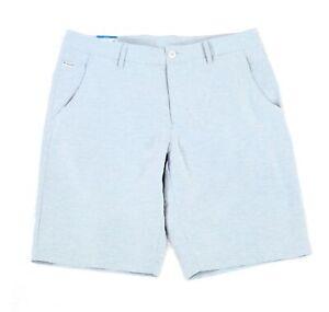 Columbia Mens Slack Tide Shorts Blue Size 38 Stretch Spacedye Flat-Front $55 090