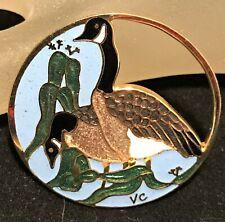 Vintage Cloisonne Enamel Canada Goose Brooch Figural Canadian Bird Pin 1219