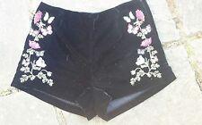 H&M black velvet embroidered shorts. Size 10